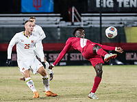 COLLEGE PARK, MD - NOVEMBER 15: Herbert Endeley #17 of Indiana hooks the ball over Ben Di Rosa #25 of Maryland during a game between Indiana University and University of Maryland at Ludwig Field on November 15, 2019 in College Park, Maryland.