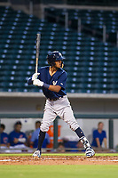 AZL Brewers second baseman Francisco Thomas (9) bats during a game against the AZL Cubs on August 6, 2017 at Sloan Park in Mesa, Arizona. AZL Cubs defeated the AZL Brewers 8-7. (Zachary Lucy/Four Seam Images)