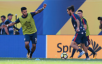 Cleveland, OH - Saturday July 15, 2017: Dom Dwyer, Graham Zusi during a 2017 Gold Cup match between the men's national teams of the United States (USA) and Nicaragua (NCA) at FirstEnergy Stadium.