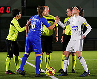 20.02.2020 OUD-HEVERLEE: Genk's captain Riete Loos (left) and OHL's captain Anaelle Wiard (right) does a hand shake before the Belgian's Women's Super League match between Oud-Heverlee Leuven vs KRC Gent Ladies on Friday 20th February 2020, Stadion Oud-Heverlee, Oud-Heverlee, BELGIUM. PHOTO: SEVIL OKTEM