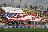 USA fans with American flag.USA vs Grenada WC qualifyer in Columbus Ohio. USA-3/Grenada-0