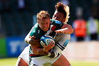 5th June 2021; Mattioli Woods Welford Road Stadium, Leicester, Midlands, England; Gallagher Premiership Rugby, Leicester Tigers versus Bristol Bears; Tommy Reffell of Leicester Tigers is stopped by Nathan Hughes of Bristol Bears