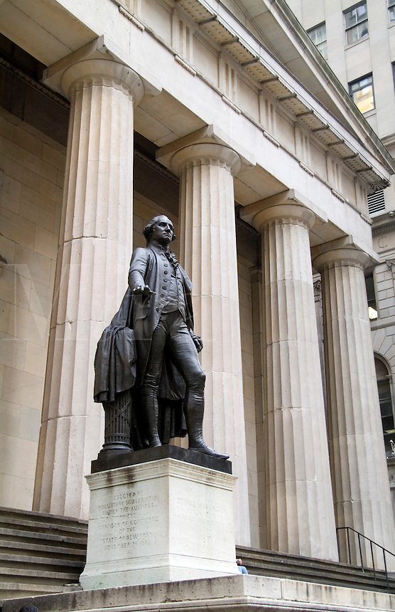 George Washington statue at Federal Hall, New York City, Wall Street where Washington took oath for President in 1789.