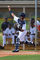 FCL Tigers West catcher Mike Rothenberg (37) throws down to second base during a game against the FCL Yankees on July 31, 2021 at Tigertown in Lakeland, Florida.  (Mike Janes/Four Seam Images)