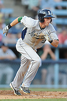 Lexington Legends left fielder Jordan Scott #2 runs to first during a game against the Asheville Tourists at McCormick Field on May 5, 2012 in Asheville, North Carolina . The Legends defeated the Tourists 5-1. (Tony Farlow/Four Seam Images).