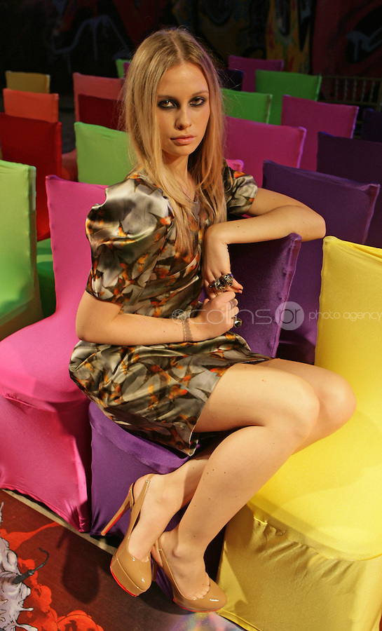 08/09/2010.Chloe wearing grey satin swallow dress by Erdem with nude Bianca sling back by Christian Louboboutin.at Harvey Nichols Autumn/Winter Collection 2010 at Harvey Nichols Dundrum Shopping Centre, Dublin..Photo: Gareth Chaney Collins