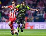 Gabriel Fernandez Arenas, Gabi, of Atletico de Madrid (L) fights for the ball with William Carvalho of Sporting CP (R) during the UEFA Europa League quarter final leg one match between Atletico Madrid and Sporting CP at Wanda Metropolitano on April 5, 2018 in Madrid, Spain. Photo by Diego Souto / Power Sport Images