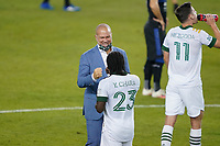 SAN JOSE, CA - SEPTEMBER 19: Portland Timbers head coach Giovanni Savarese celebrates scoring with Yimmi Chara #23 of the Portland Timbers after a game between Portland Timbers and San Jose Earthquakes at Earthquakes Stadium on September 19, 2020 in San Jose, California.