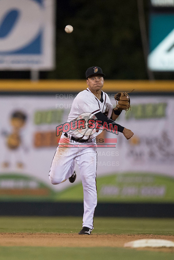 Modesto Nuts shortstop Bryson Brigman (8) makes a throw to first base during a California League game against the Lake Elsinore Storm at John Thurman Field on May 12, 2018 in Modesto, California. Lake Elsinore defeated Modesto 4-1. (Zachary Lucy/Four Seam Images)