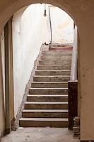 Senegal, Saint Louis.  Doorway and Stairs, Colonial Era Building.