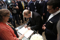 Pictured: Vladimir Putin and Alexis Tsipras sign the visitors' book Friday 27 May 2016<br /> Re: Russian President Vladimir Putin with Greek Prime Minister Alexis Tsipras at the exhibition opening 'Ascension of the Christ' at the Byzantine Museum, Athens, Greece