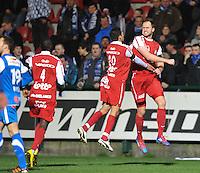 KV Kortrijk - KRC Genk : vreugde bij Mohamed Messoudi (links) en Dalibor Veselinovic nadat die laatste de 1-0 scoorde.foto VDB / BART VANDENBROUCKE
