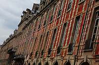 Paris Right Bank: The typical ancient buildings with their mansards, their red bricks and their arcades, in place des Vosges (XVII century), in the Marais. This is the north side of the place, with the Pavillon de la Reine (the Pavillon of the Queen).<br /> <br /> You can download this file for (E&PU) only, but you can find in the collection the same one available instead for (Adv).