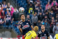 FOXBOROUGH, MA - AUGUST 4: Brando Bye #15 of New England Revolution heads the ball during a game between Nashville SC and New England Revolution at Gillette Stadium on August 4, 2021 in Foxborough, Massachusetts.
