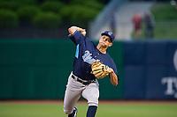 Corpus Christi Hooks pitcher Brandon Bielak (12) delivers a pitch Wednesday, May 1, 2019, at Arvest Ballpark in Springdale, Arkansas. (Jason Ivester/Four Seam Images)