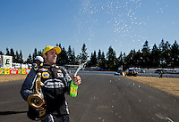 Aug. 4, 2013; Kent, WA, USA: NHRA pro stock driver Vincent Nobile celebrates after winning the Northwest Nationals at Pacific Raceways. Mandatory Credit: Mark J. Rebilas-USA TODAY Sports