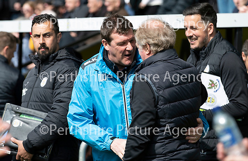 St Mirren v St Johnstone….27.04.19      St Mirren Park        SPFL<br />Tommy Wright pictured with Jimmy Nicholl<br />Picture by Graeme Hart. <br />Copyright Perthshire Picture Agency<br />Tel: 01738 623350  Mobile: 07990 594431