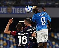 26th September 2021; Maradona Stadium, Naples, Italy; Serie A football, Napoli versus Cagliari :  Victor Osimhen of Napoli leaps to win the header