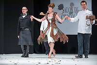 Chloe Nabedian portant la robe de Pascal Jaouen et Goerges Larnicol au Salon du Chocolat coiffure Franck Provost maquillage Make Up For Ever Paris 2017 - SALON DU CHOCOLAT 2017, 27/10/2017, PARIS, FRANCE