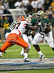 Illinois Fighting Illini defensive tackle Clay Nurse (97) and Baylor Bears guard Ivory Wade (78) do battle during the 2010 Texas  Bowl football game between the Illinois  Fighting Illini and the Baylor Bears at the Reliant Stadium in Houston, Tx. Illinois defeats Baylor 38 to 14....
