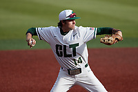 Charlotte 49ers third baseman Austin Knight (14) makes a throw to first base against the Old Dominion Monarchs at Hayes Stadium on April 23, 2021 in Charlotte, North Carolina. (Brian Westerholt/Four Seam Images)