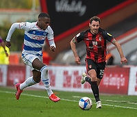 Queens Park Rangers' Bright Osayi-Samuel (left) vies for possession with Bournemouth's Adam Smith<br /> <br /> Photographer David Horton/CameraSport<br /> <br /> The EFL Sky Bet Championship - Bournemouth v Queens Park Rangers - Saturday 17th October 2020 - Vitality Stadium - Bournemouth<br /> <br /> World Copyright © 2020 CameraSport. All rights reserved. 43 Linden Ave. Countesthorpe. Leicester. England. LE8 5PG - Tel: +44 (0) 116 277 4147 - admin@camerasport.com - www.camerasport.com