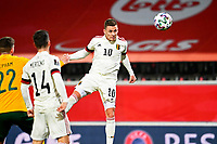 24th March 2021; Leuven, Belgium;  Thorgan Hazard of Belgium scores a headed goal during the World Cup Qatar 2022 Qualifiers Match between Belgium and Wales on March 24, 2021 in Leuven, Belgium
