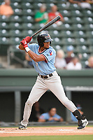 Center fielder Bubba Thompson (25) of the Hickory Crawdads at bat during a game against the Greenville Drive on Monday, August 20, 2018, at Fluor Field at the West End in Greenville, South Carolina. Hickory won, 11-2. (Tom Priddy/Four Seam Images)