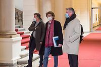 """36. Sitzung des 2. Untersuchungsausschusses <br /> der 18. Wahlperiode des Berliner Abgeordnetenhaus - """"BER II"""" - am Freitag den 19. Februar 2021.<br /> Als Zeuge war der Flughafenchef und Staatssekretaer a.D. Prof. Dr. Engelbert Luetke Daldrup (im Bild mit rotem Schal) geladen.<br /> Der Ausschuss soll die Ursachen, Konsequenzen und Verantwortung fuer die Kosten- und Terminueberschreitungen des im Bau befindlichen Flughafens """"Berlin Brandenburg Willy Brandt"""" aufklaeren.<br /> 19.2.2021, Berlin<br /> Copyright: Christian-Ditsch.de"""