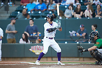Tyler Frost (5) of the Winston-Salem Dash at bat against the Down East Wood Ducks at BB&T Ballpark on May 10, 2019 in Winston-Salem, North Carolina. The Wood Ducks defeated the Dash 9-2. (Brian Westerholt/Four Seam Images)