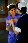Staff nurse in blue  with matron Alder Hey Hospital Manchester NHS 1980s 1988