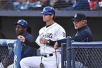 Asheville Tourists coaches Mike Devereaux, Warren Schaeffer and Mark Brewer during a game against the Rome Braves at McCormick Field on April 14, 2016 in Asheville, North Carolina. The Braves defeated the Tourists 4-3. (Tony Farlow/Four Seam Images)