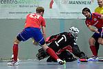 GER - Mannheim, Germany, November 28: During the 1. Bundesliga Sued Herren indoor hockey match between Mannheimer HC (red) and TG Frankenthal (white) on November 28, 2015 at Irma-Roechling-Halle in Mannheim, Germany. Final score 7-7 (HT 3-3). (Photo by Dirk Markgraf / www.265-images.com) *** Local caption *** (L-R) Fabian Pehlke #23 of Mannheimer HC, Carsten Peikert #1 of TG Frankenthal, Philipp Collot #13 of Mannheimer HC