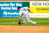 Los Angeles Dodger Logan Forsythe (50) on rehab assignment playing for the Rancho Cucamonga Quakes on defense against the Visalia Rawhide at LoanMart Field on May 13, 2018 in Rancho Cucamonga, California. The Quakes defeated the Rawhide 3-2.  (Donn Parris/Four Seam Images)