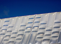 A detailed shot of the exterior of the Arena Pernambuco, Recife