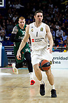 Zalgiris' Aaron White and Real Madrid's Fabien Caseur during Euroligue match between Real Madrid and Zalgiris Kaunas at Wizink Center in Madrid, Spain. April 4, 2019.  (ALTERPHOTOS/Alconada)