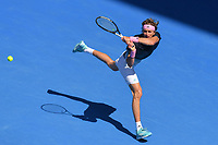 January 21, 2019: 4th seed Alexander Zverev of Germany in action in the fourth round match against 16th seed Milos Raonic of Canada on day eight of the 2019 Australian Open Grand Slam tennis tournament in Melbourne, Australia. Raonic won 61 61 76. Photo Sydney Low