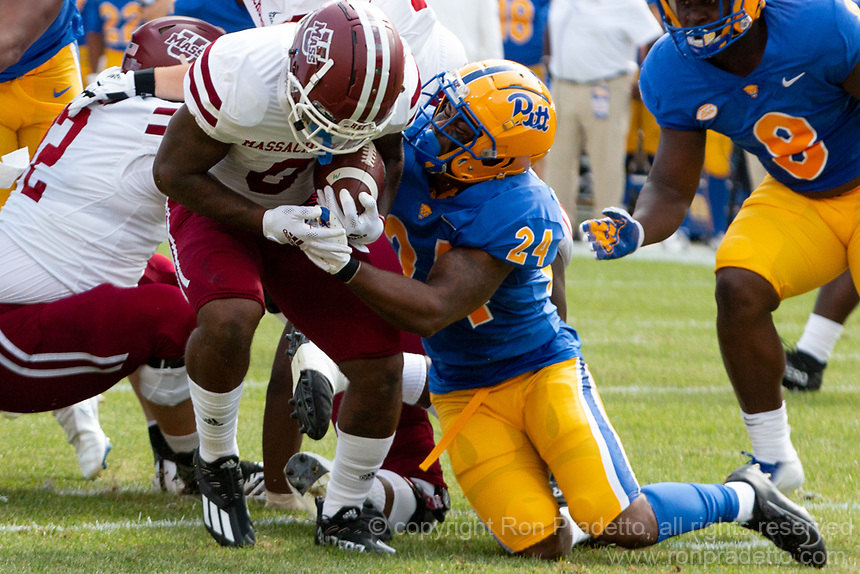 Pitt linebacker Phil Campbell makes a tackle. The Pitt Panthers defeated the UMass Minutemen 51-7 on September 4, 2021 at Heinz Field, Pittsburgh, PA.