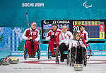 Sochi, RUSSIA - Mar 15 2014 - Sonja Gaudet and Dennis Thiessen as Canada takes on Russia in the Gold Medal Wheechair Curling match at the 2014 Paralympic Winter Games in Sochi, Russia.  (Photo: Matthew Murnaghan/Canadian Paralympic Committee)