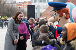 © Joel Goodman - 07973 332324. 06/12/2017 . Manchester , UK . KATE MIDDLETON meets children at the start of the visit . The Duke And Duchess Of Cambridge, Prince William and Kate Middleton, attend the Children's Global Media Summit at the Manchester Central Convention Centre . Photo credit : Joel Goodman
