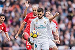 Nacho Fernandez of Real Madrid (L) in action against Guido Pizarro of Sevilla FC (R) during the La Liga 2017-18 match between Real Madrid and Sevilla FC at Santiago Bernabeu Stadium on 09 December 2017 in Madrid, Spain. Photo by Diego Souto / Power Sport Images
