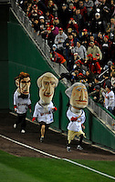 30 March 2008: Washington Nationals Presidential Mascot George Washington wins the first presidential race during the inaugural game of Nationals Park between the Atlanta Braves and the Washington Nationals in Washington, DC. The Nationals christened their new ballpark with a 3-2 win over the visiting Braves...Mandatory Photo Credit: Ed Wolfstein Photo..Mandatory Photo Credit: Ed Wolfstein Photo