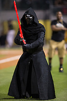 """On """"Star Wars Night"""" Kylo Ren made an appearance during the """"Royalty Race"""" between innings of the International League game between the Columbus Clippers and the Charlotte Knights at BB&T BallPark on May 3, 2016 in Charlotte, North Carolina.  The Clippers defeated the Knights 8-3.  (Brian Westerholt/Four Seam Images)"""