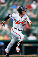 Baltimore Orioles first baseman Preston Palmeiro (84) runs to first base during a Grapefruit League Spring Training game against the Tampa Bay Rays on March 1, 2019 at Ed Smith Stadium in Sarasota, Florida.  Rays defeated the Orioles 10-5.  (Mike Janes/Four Seam Images)