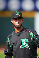 Dayton Dragons pitcher Sandy Lugo (15) during a game against the Cedar Rapids Kernels on July 24, 2016 at Perfect Game Field in Cedar Rapids, Iowa.  Cedar Rapids defeated Dayton 10-6.  (Mike Janes/Four Seam Images)