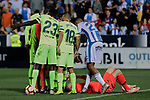 FC Barcelona's Samuel Umtiti (L) and Jordi Alba (R) have words with the referee during La Liga match between CD Leganes and FC Barcelona at Butarque Stadium in Madrid, Spain. September 26, 2018. (ALTERPHOTOS/A. Perez Meca)