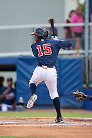 Cristian Pache (15) of the Danville Braves at bat against the Pulaski Yankees at American Legion Post 325 Field on July 31, 2016 in Danville, Virginia.  The Yankees defeated the Braves 8-3.  (Brian Westerholt/Four Seam Images)