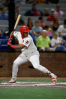 Johnson City Cardinals first baseman Leandro Cedeno (5) at bat during a game against the Danville Braves on July 28, 2018 at TVA Credit Union Ballpark in Johnson City, Tennessee.  Danville defeated Johnson City 7-4.  (Mike Janes/Four Seam Images)