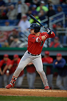 Lowell Spinners Nick Decker (21) at bat during a NY-Penn League Semifinal Playoff game against the Batavia Muckdogs on September 4, 2019 at Dwyer Stadium in Batavia, New York.  Batavia defeated Lowell 4-1.  (Mike Janes/Four Seam Images)