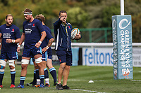 Graham Steadman of London Scottish (right) during the Greene King IPA Championship match between London Scottish Football Club and Ealing Trailfinders at Richmond Athletic Ground, Richmond, United Kingdom on 8 September 2018. Photo by David Horn.